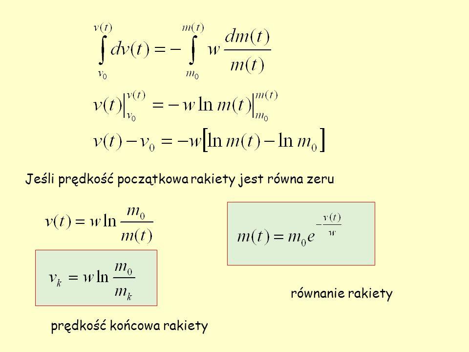 Jeśli prędkość początkowa rakiety jest równa zeru równanie rakiety prędkość końcowa rakiety