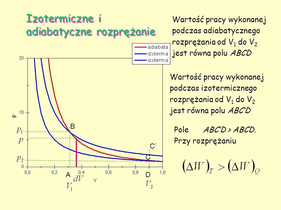 Izotermiczne i adiabatyczne rozprężanie A B C D Wartość pracy wykonanej podczas adiabatycznego rozprężania od V 1 do V 2 jest równa polu ABCD C Wartoś
