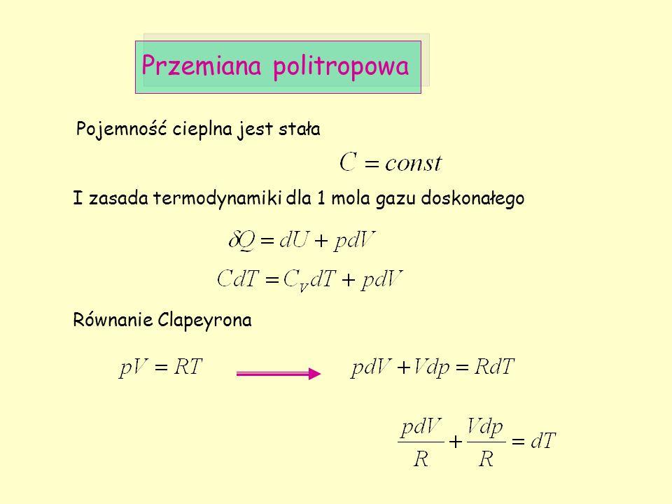 Przemiana politropowa Pojemność cieplna jest stała I zasada termodynamiki dla 1 mola gazu doskonałego Równanie Clapeyrona