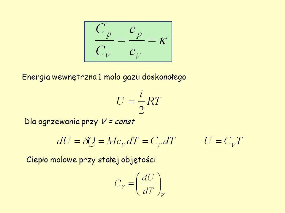 Energia wewnętrzna 1 mola gazu doskonałego Dla ogrzewania przy V = const Ciepło molowe przy stałej objętości