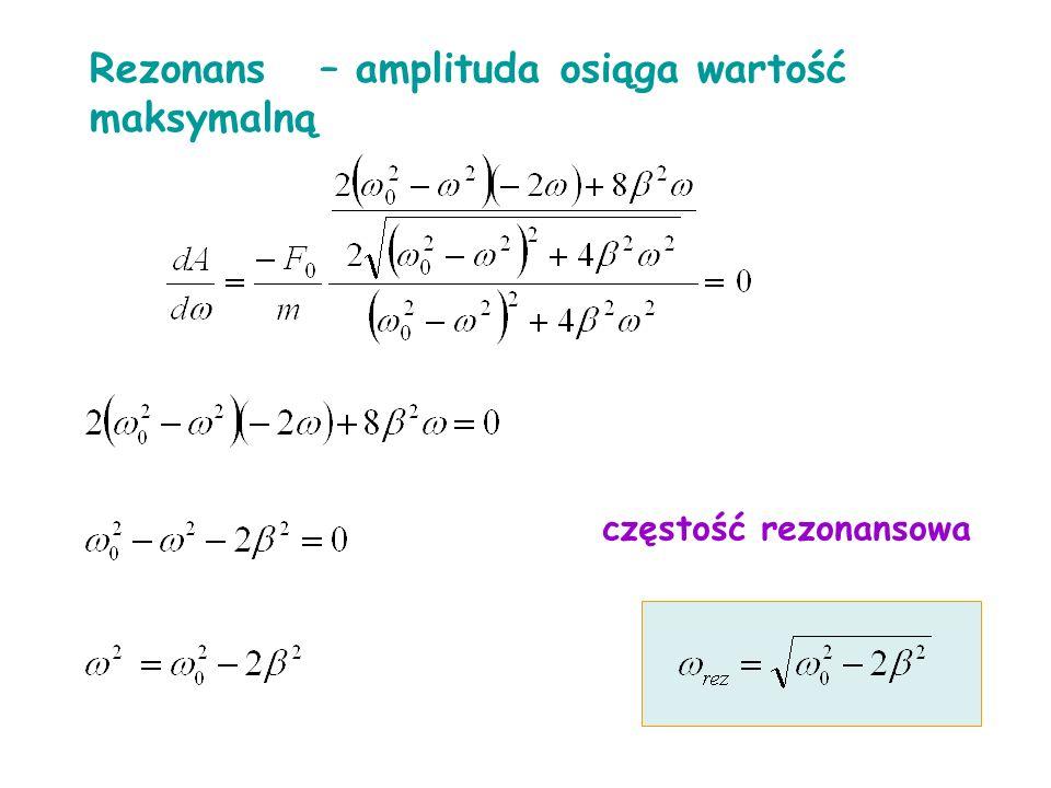 Rezonans – amplituda osiąga wartość maksymalną częstość rezonansowa