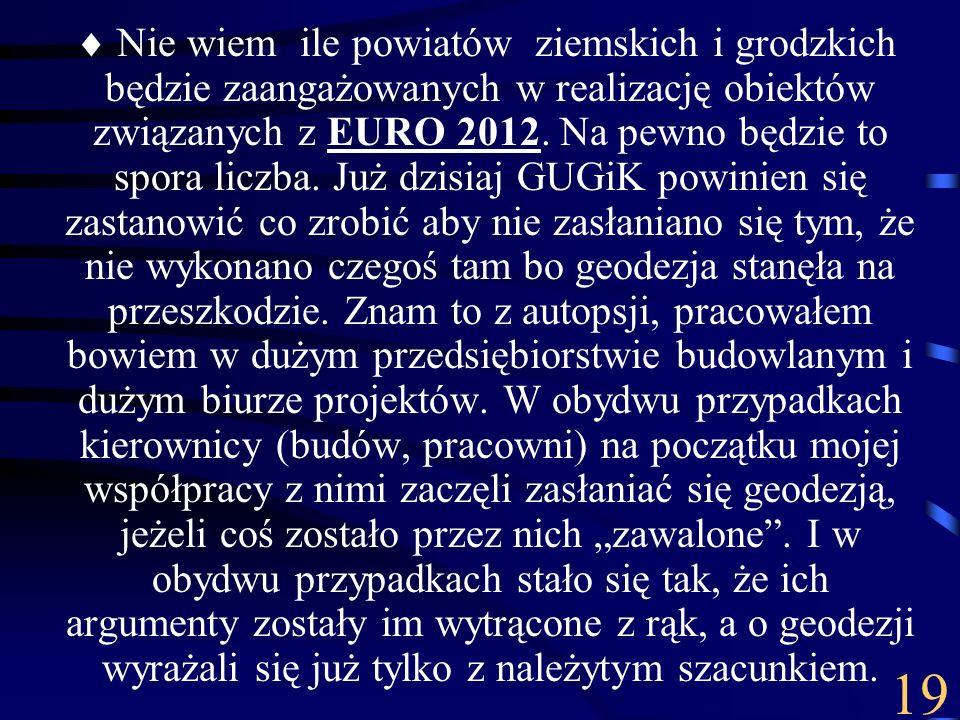 Nie wiem ile powiatów ziemskich i grodzkich będzie zaangażowanych w realizację obiektów związanych z EURO 2012. Na pewno będzie to spora liczba. Już d