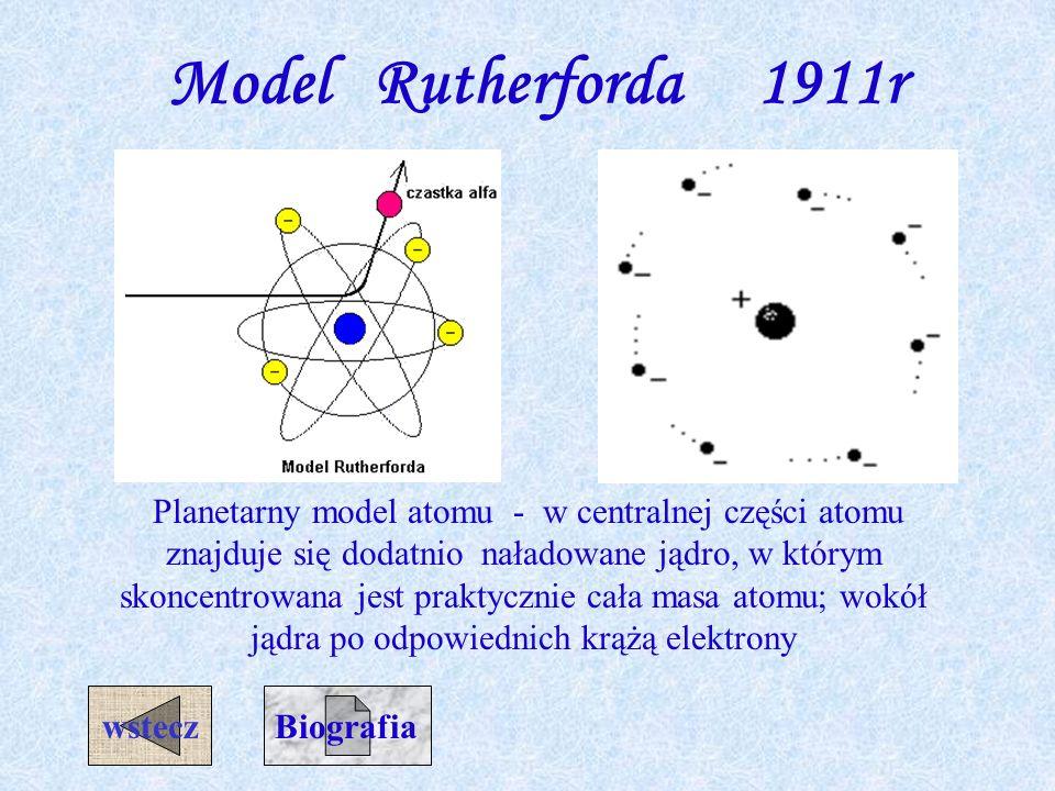 Model Thompsona 1906r. Atom jest kulą wypełnioną równomiernie w całej objętości rozłożonym ładunkiem dodatnim, zobojętnionym przez nieruchome elektron