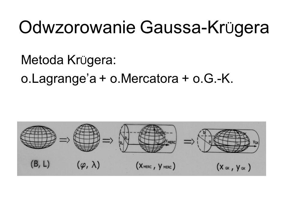 Odwzorowanie Gaussa-Kr Ü gera Metoda Kr Ü gera: o.Lagrangea + o.Mercatora + o.G.-K.