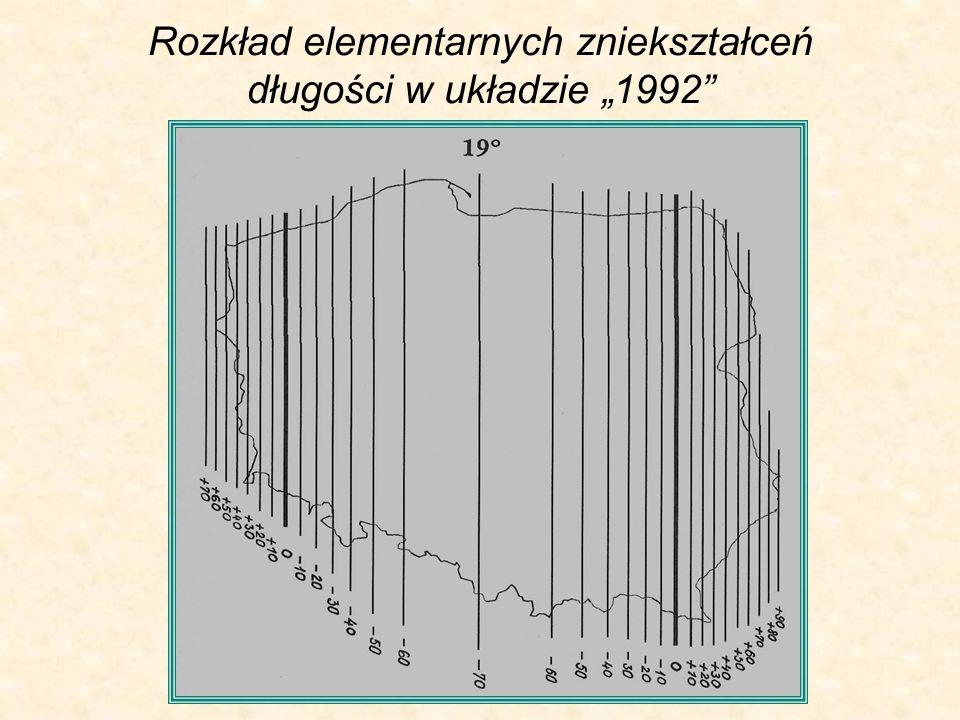 Rozkład elementarnych zniekształceń długości w układzie 1992