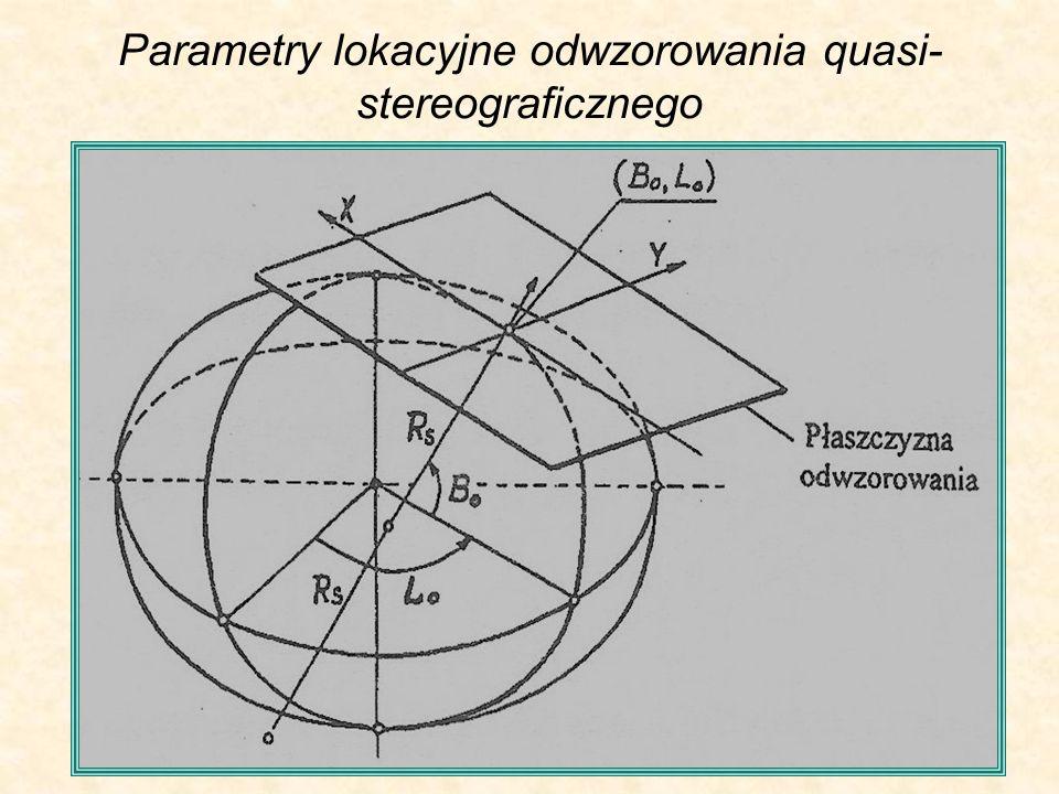 Parametry lokacyjne odwzorowania quasi- stereograficznego