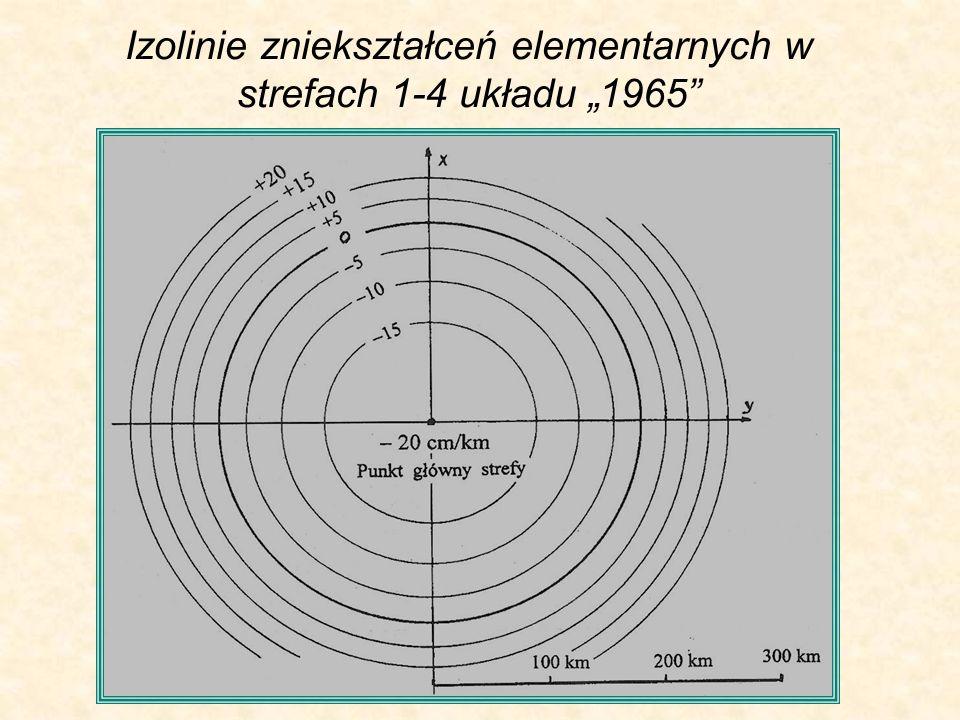 Izolinie zniekształceń elementarnych w strefach 1-4 układu 1965