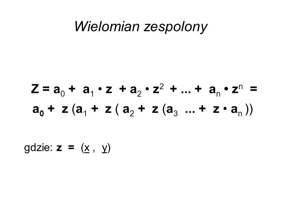 Z = a 0 + a 1 z + a 2 z 2 +... + a n z n = a 0 + z (a 1 + z ( a 2 + z (a 3... + z a n )) gdzie: z = (x, y) Wielomian zespolony