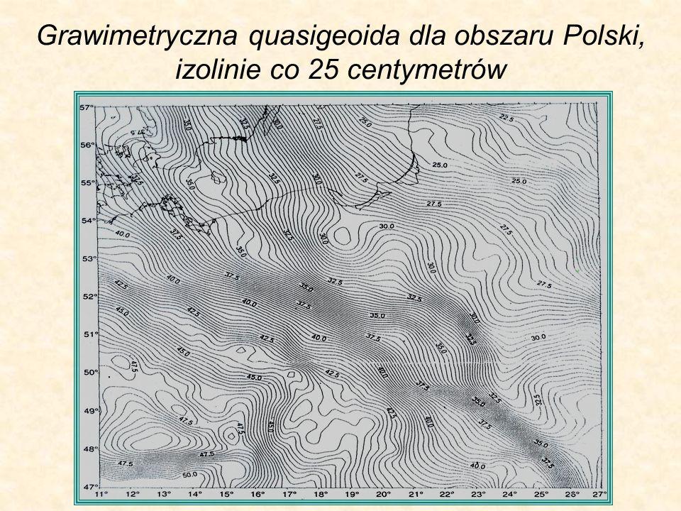 Grawimetryczna quasigeoida dla obszaru Polski, izolinie co 25 centymetrów