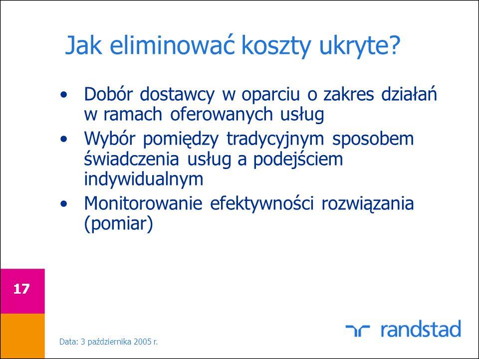 Data: 3 października 2005 r. 17 Jak eliminować koszty ukryte? Dobór dostawcy w oparciu o zakres działań w ramach oferowanych usług Wybór pomiędzy trad