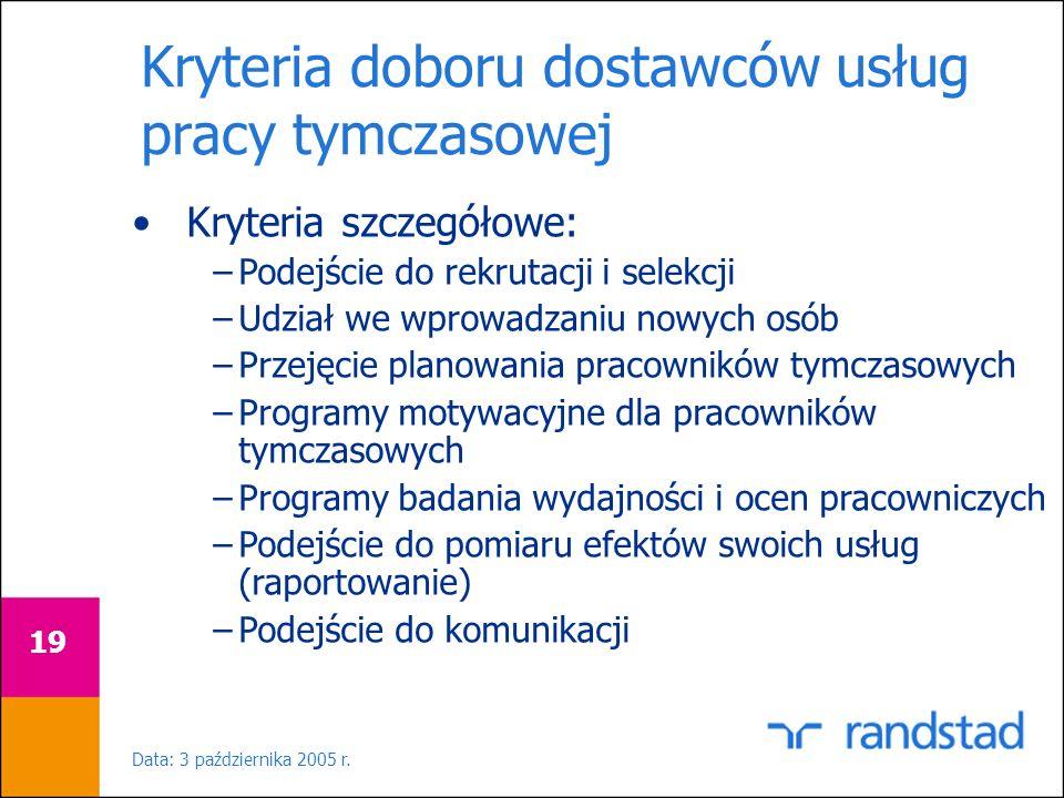 Data: 3 października 2005 r. 19 Kryteria doboru dostawców usług pracy tymczasowej Kryteria szczegółowe: –Podejście do rekrutacji i selekcji –Udział we