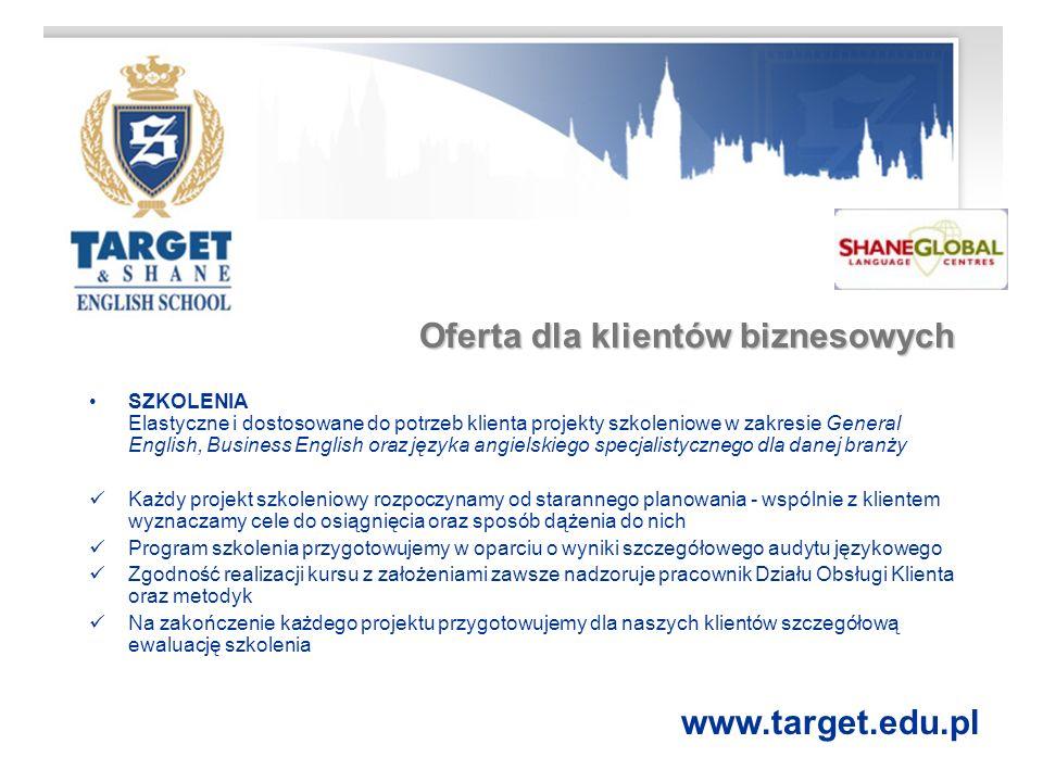 Target & Shane English School Działa na rynku usług szkoleniowych w Polsce od 1993 roku Należy do międzynarodowej grupy Saxoncourt Holdings Ltd., zrzeszającej 252 szkoły językowe na całym świecie.