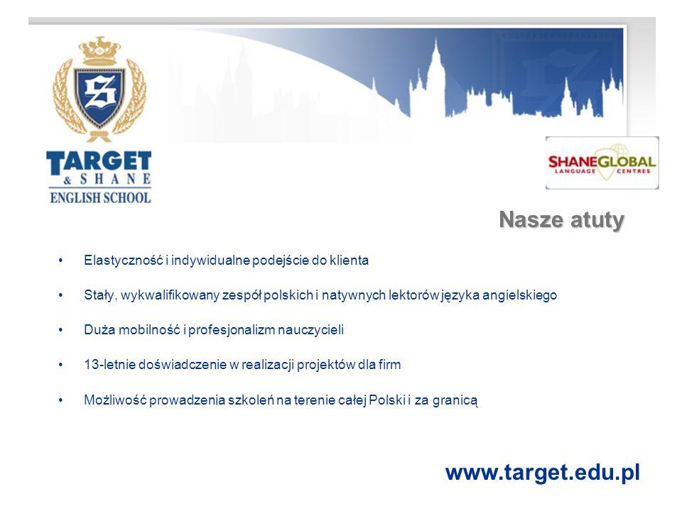 Oferta dla klientów biznesowych TARGET LANGUAGE AUDIT Szczegółowa analiza potrzeb językowych firmy i kompetencji poszczególnych pracowników w zakresie posługiwania się językiem angielskim TŁUMACZENIA Translacje tekstów (m.in.