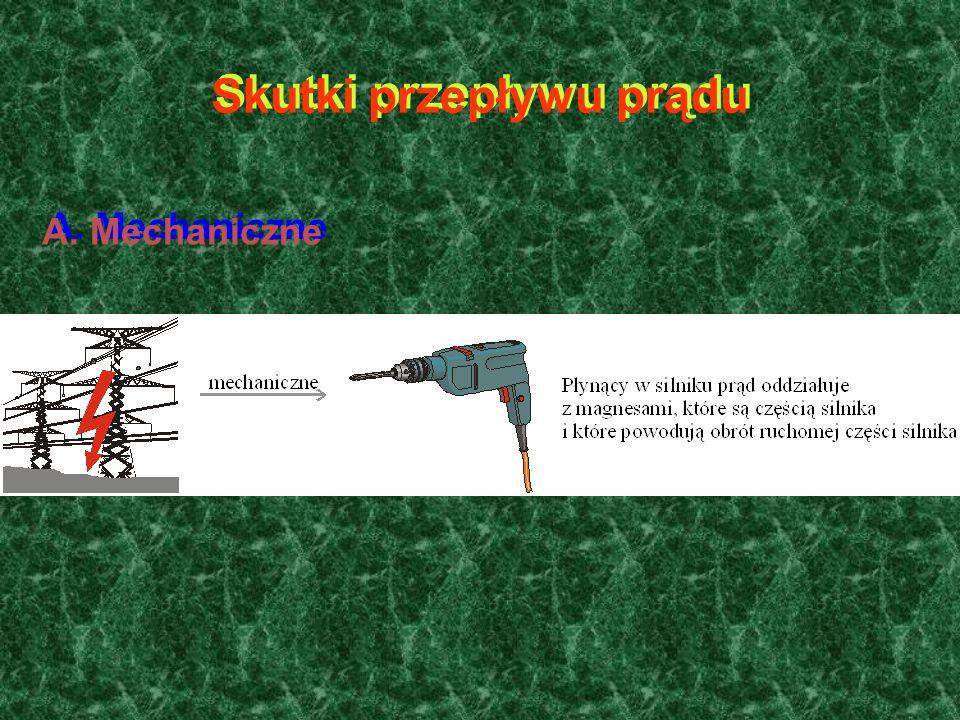 Skutki przepływu prądu A. Mechaniczne