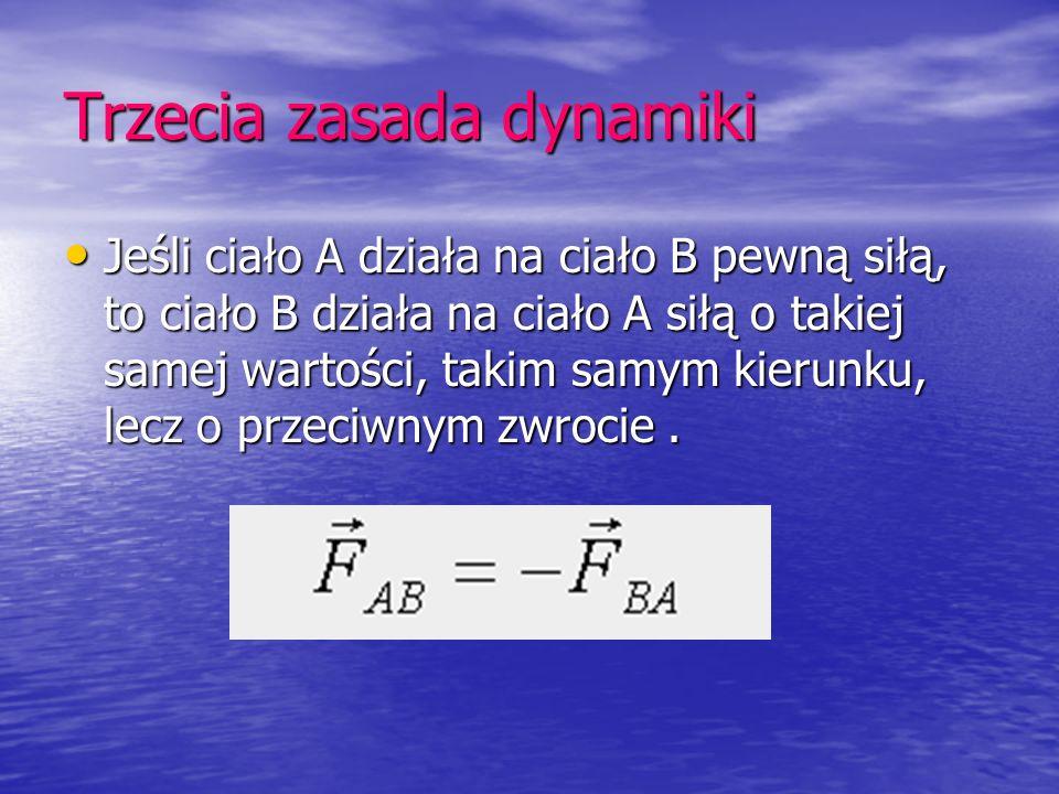 Trzecia zasada dynamiki Jeśli ciało A działa na ciało B pewną siłą, to ciało B działa na ciało A siłą o takiej samej wartości, takim samym kierunku, l