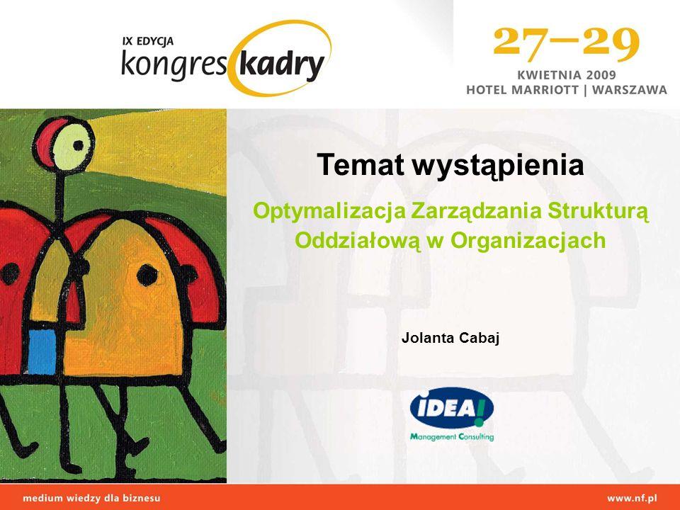 Temat wystąpienia Optymalizacja Zarządzania Strukturą Oddziałową w Organizacjach Jolanta Cabaj