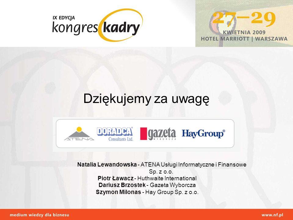 Dziękujemy za uwagę Natalia Lewandowska - ATENA Usługi Informatyczne i Finansowe Sp.