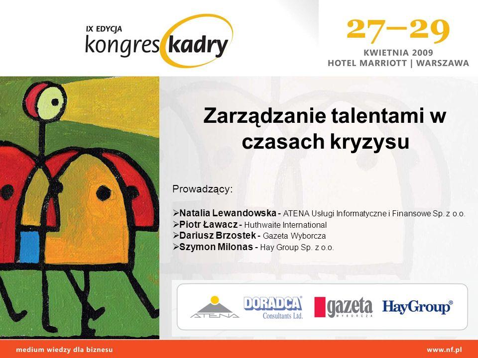 Zarządzanie talentami w czasach kryzysu Prowadzący: Natalia Lewandowska - ATENA Usługi Informatyczne i Finansowe Sp.