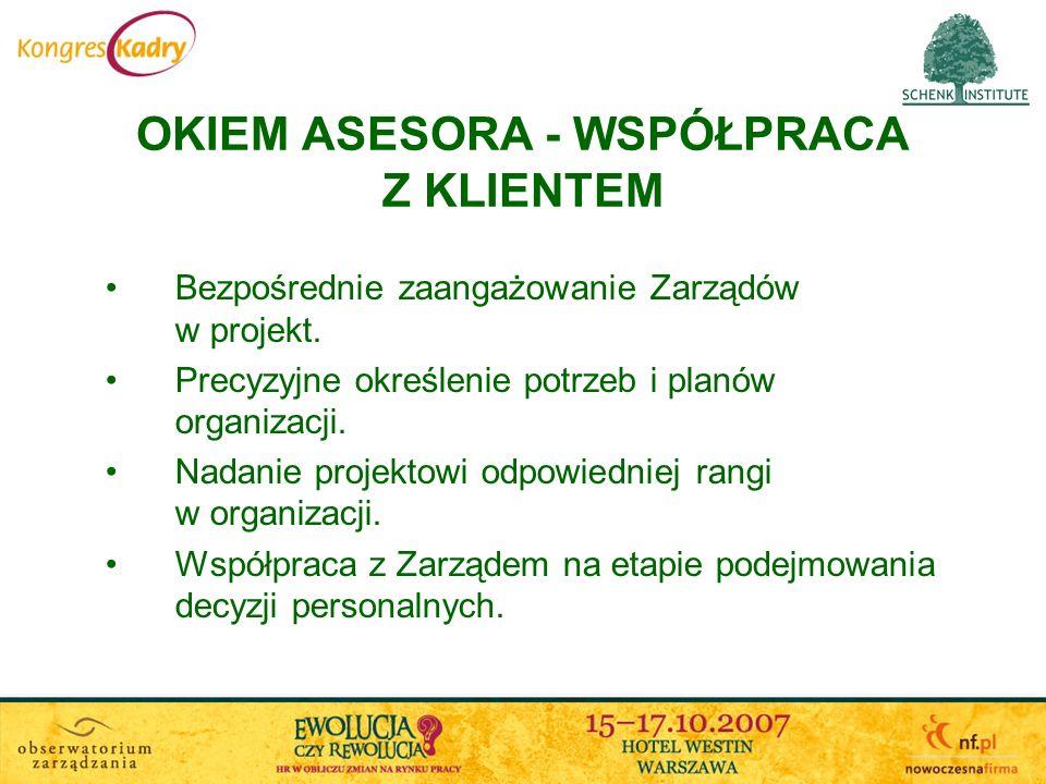OKIEM ASESORA - WSPÓŁPRACA Z KLIENTEM Bezpośrednie zaangażowanie Zarządów w projekt. Precyzyjne określenie potrzeb i planów organizacji. Nadanie proje