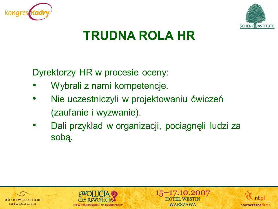 TRUDNA ROLA HR Dyrektorzy HR w procesie oceny: Wybrali z nami kompetencje. Nie uczestniczyli w projektowaniu ćwiczeń (zaufanie i wyzwanie). Dali przyk
