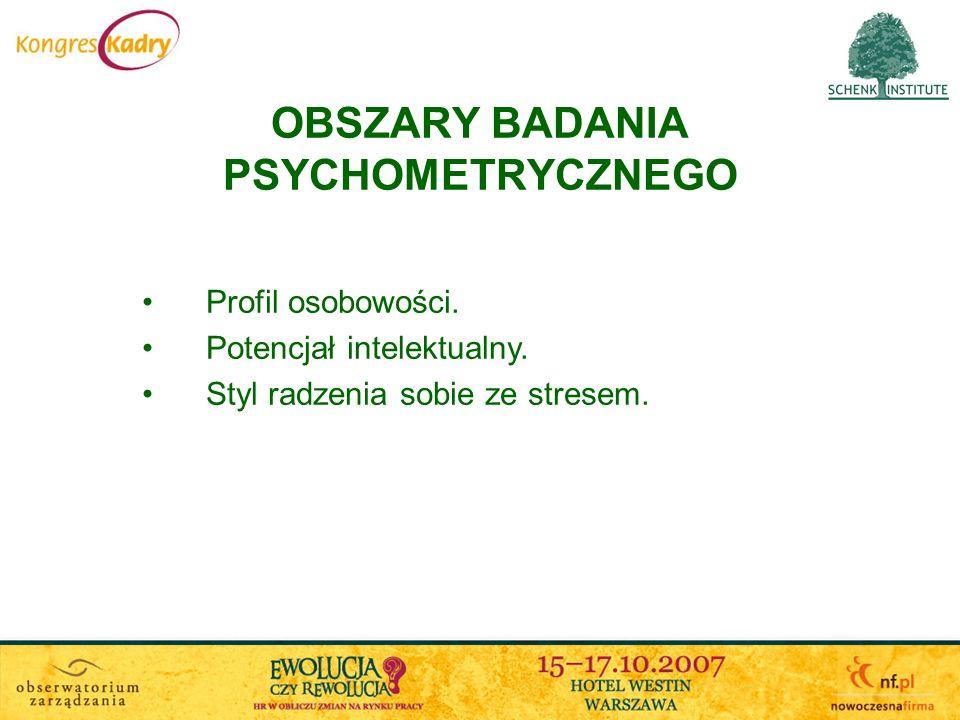 OBSZARY BADANIA PSYCHOMETRYCZNEGO Profil osobowości. Potencjał intelektualny. Styl radzenia sobie ze stresem.