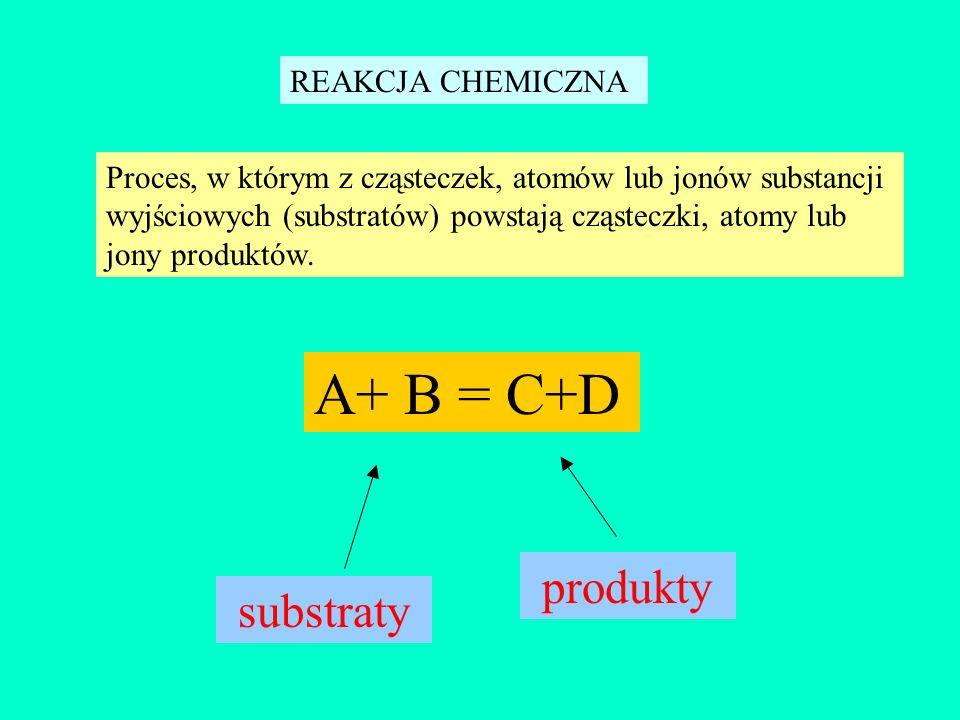 REAKCJA CHEMICZNA Proces, w którym z cząsteczek, atomów lub jonów substancji wyjściowych (substratów) powstają cząsteczki, atomy lub jony produktów. A
