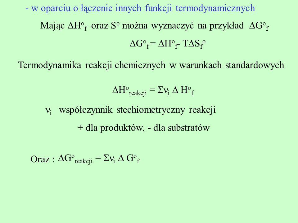 Mając H o f oraz S o można wyznaczyć na przykład G o f G o f = H o f - T S f o Termodynamika reakcji chemicznych w warunkach standardowych H o reakcji