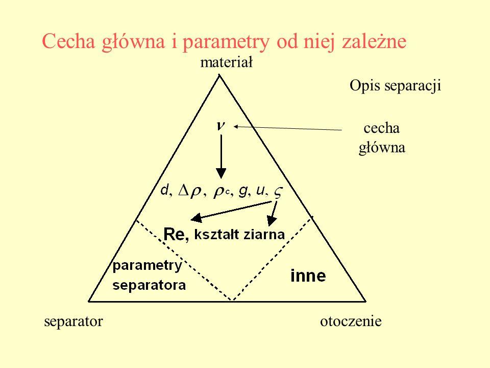 Cecha główna i parametry od niej zależne Opis separacji materiał separatorotoczenie cecha główna