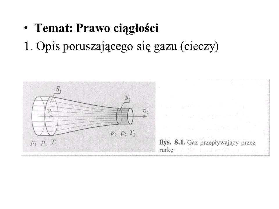 Temat: Prawo ciągłości 1. Opis poruszającego się gazu (cieczy)
