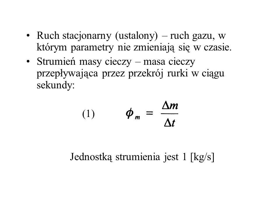 Ruch stacjonarny (ustalony) – ruch gazu, w którym parametry nie zmieniają się w czasie. Strumień masy cieczy – masa cieczy przepływająca przez przekró