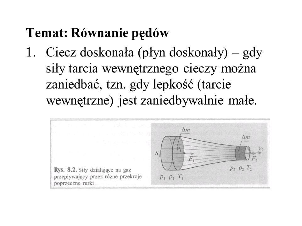 Temat: Równanie pędów 1.Ciecz doskonała (płyn doskonały) – gdy siły tarcia wewnętrznego cieczy można zaniedbać, tzn. gdy lepkość (tarcie wewnętrzne) j