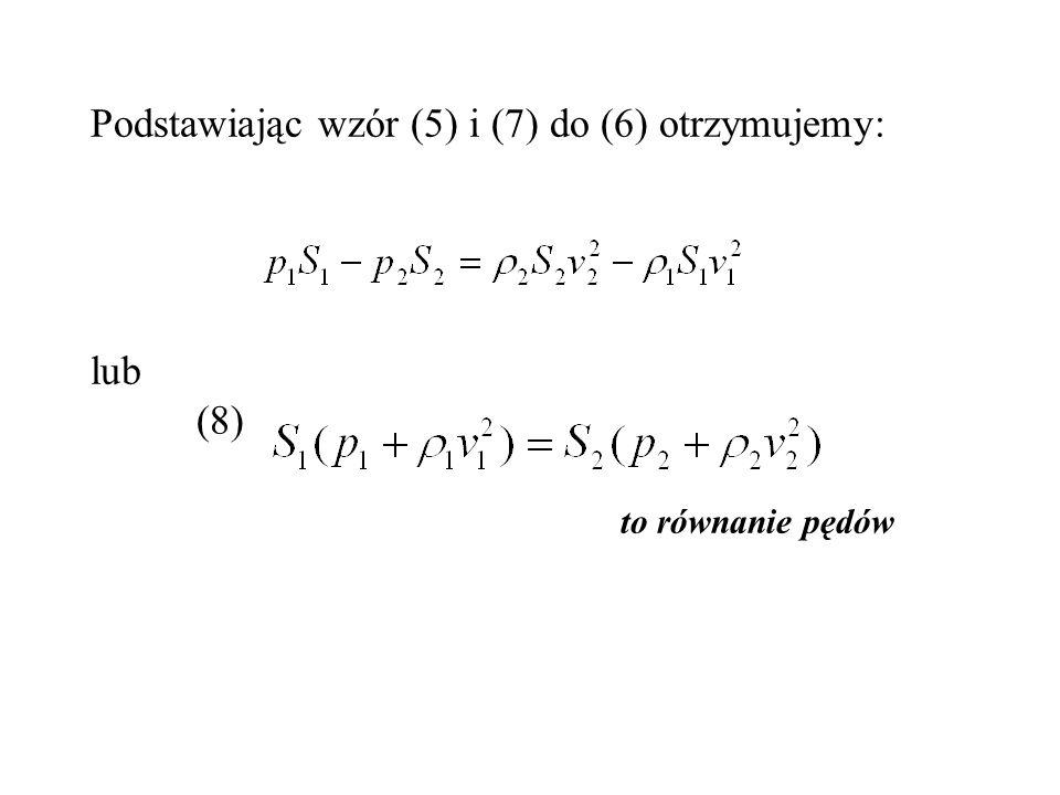 Podstawiając wzór (5) i (7) do (6) otrzymujemy: lub (8) to równanie pędów