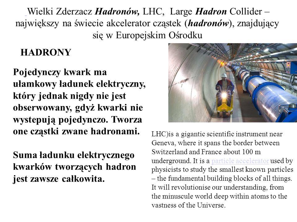 Pojedynczy kwark ma ułamkowy ładunek elektryczny, który jednak nigdy nie jest obserwowany, gdyż kwarki nie wystepują pojedynczo. Tworza one cząstki zw