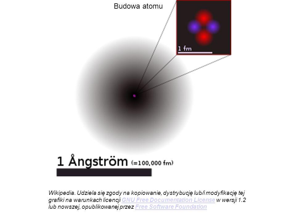 Budowa atomu Wikipedia. Udziela się zgody na kopiowanie, dystrybucję lub/i modyfikację tej grafiki na warunkach licencji GNU Free Documentation Licens