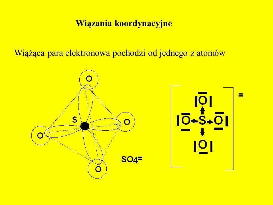 Wiązania koordynacyjne Wiążąca para elektronowa pochodzi od jednego z atomów