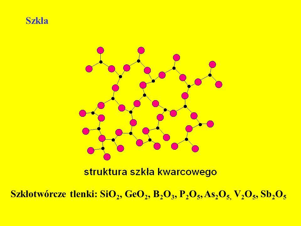 Szkła Szkłotwórcze tlenki: SiO 2, GeO 2, B 2 O 3, P 2 O 5, As 2 O 5, V 2 O 5, Sb 2 O 5