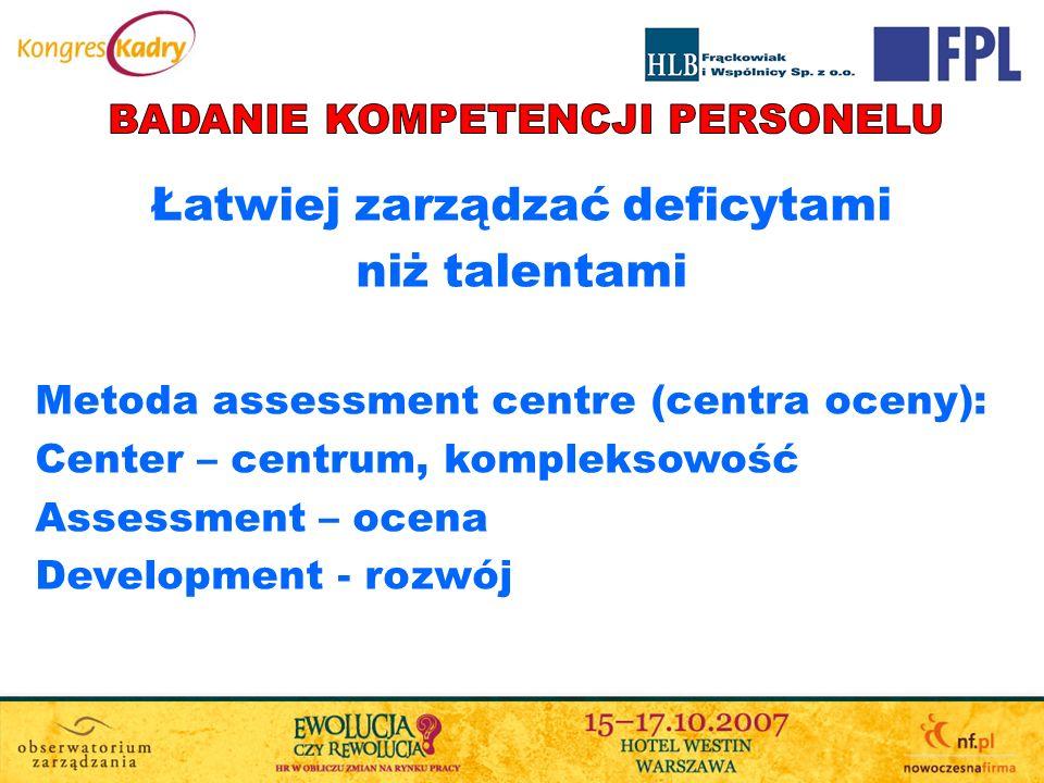 Łatwiej zarządzać deficytami niż talentami Metoda assessment centre (centra oceny): Center – centrum, kompleksowość Assessment – ocena Development - r