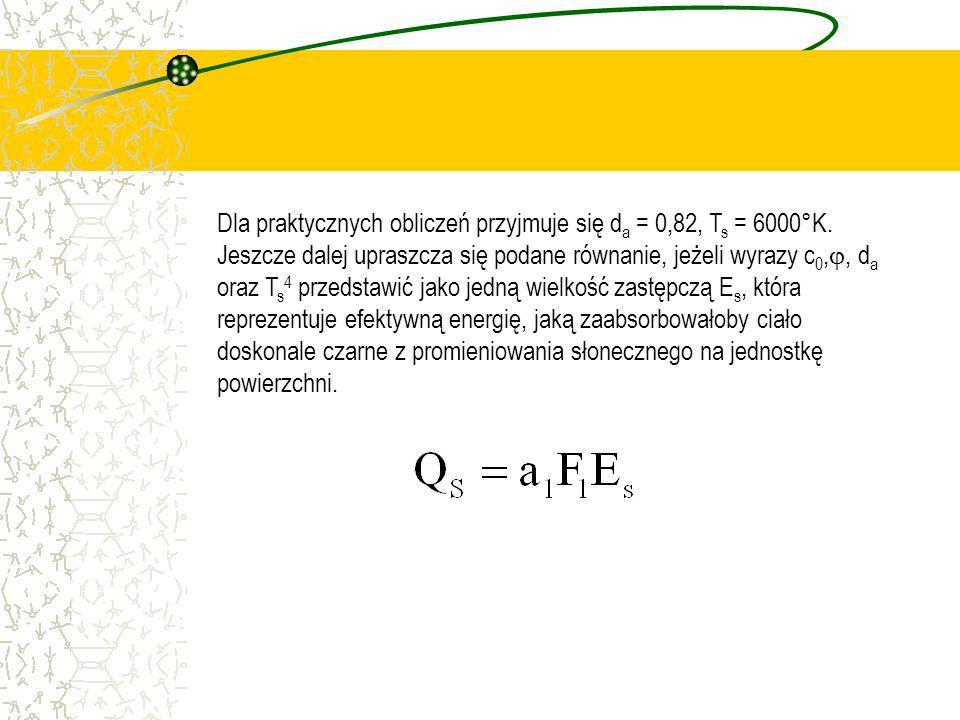 Dla praktycznych obliczeń przyjmuje się d a = 0,82, T s = 6000°K. Jeszcze dalej upraszcza się podane równanie, jeżeli wyrazy c 0,, d a oraz T s 4 prze