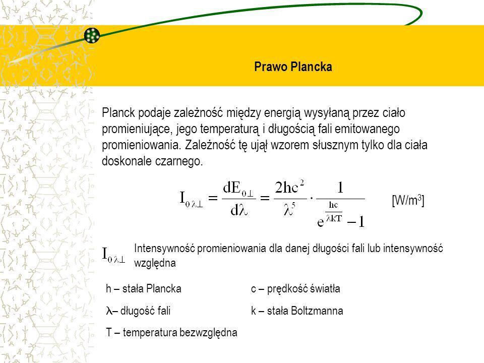 Prawo Plancka Planck podaje zależność między energią wysyłaną przez ciało promieniujące, jego temperaturą i długością fali emitowanego promieniowania.