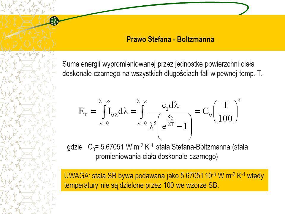 Prawo Stefana - Boltzmanna Suma energii wypromieniowanej przez jednostkę powierzchni ciała doskonale czarnego na wszystkich długościach fali w pewnej