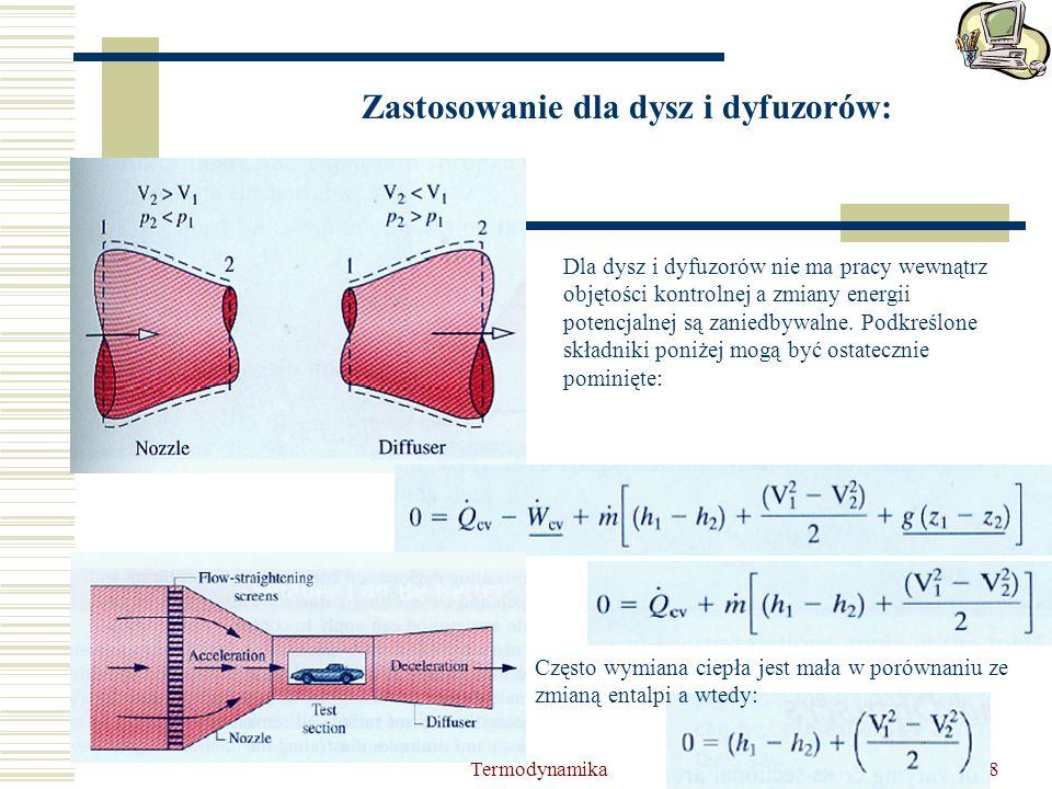 Termodynamika8 Zastosowanie dla dysz i dyfuzorów: Dla dysz i dyfuzorów nie ma pracy wewnątrz objętości kontrolnej a zmiany energii potencjalnej są zan