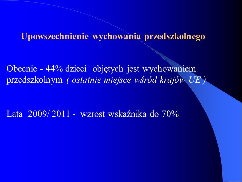 Upowszechnienie wychowania przedszkolnego Obecnie - 44% dzieci objętych jest wychowaniem przedszkolnym ( ostatnie miejsce wśród krajów UE ) Lata 2009/