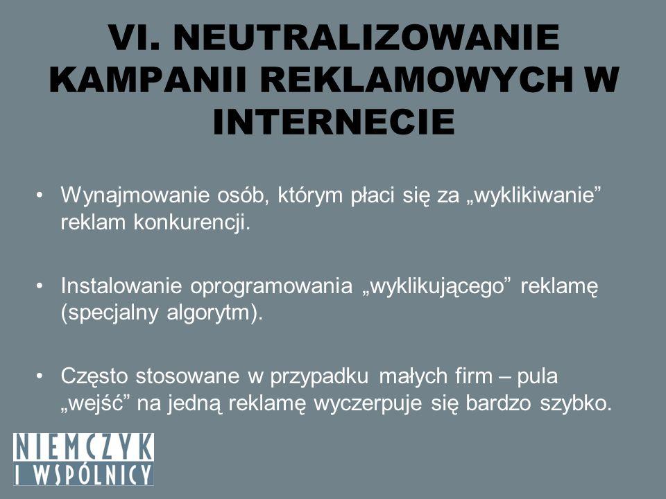 VI. NEUTRALIZOWANIE KAMPANII REKLAMOWYCH W INTERNECIE Wynajmowanie osób, którym płaci się za wyklikiwanie reklam konkurencji. Instalowanie oprogramowa