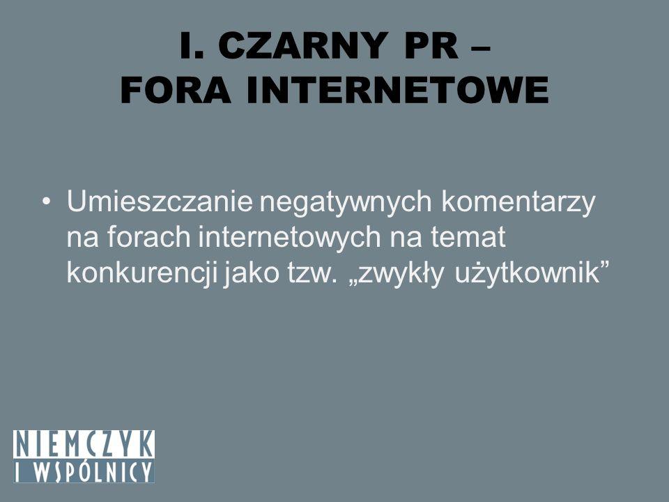 I.CZARNY PR – FORA INTERNETOWE – C.D.