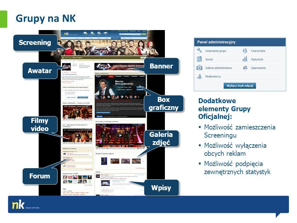 Grupy na NK Awatar Banner Screening Filmy video Box graficzny Wpisy Galeria zdjęć Forum Dodatkowe elementy Grupy Oficjalnej: Możliwość zamieszczenia Screeningu Możliwość wyłączenia obcych reklam Możliwość podpięcia zewnętrznych statystyk