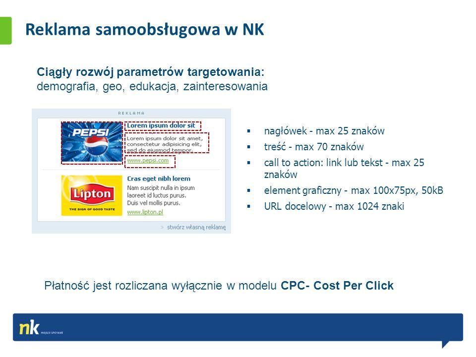 Reklama samoobsługowa w NK nagłówek - max 25 znaków treść - max 70 znaków call to action: link lub tekst - max 25 znaków element graficzny - max 100x75px, 50kB URL docelowy - max 1024 znaki Płatność jest rozliczana wyłącznie w modelu CPC- Cost Per Click Ciągły rozwój parametrów targetowania: demografia, geo, edukacja, zainteresowania