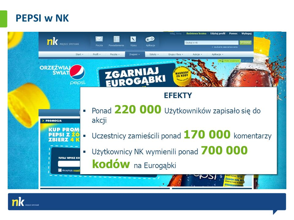 PEPSI w NK Długofalowa akcja PEPSI Orzeźwiaj Świat angażuje Użytkowników do zabawy z marką. Akcja wystartowała w maju 2010 r. i stale się zmienia. W r
