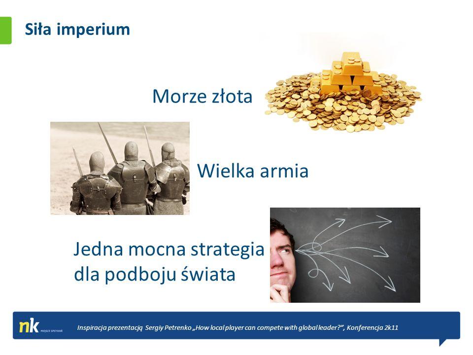 Siła imperium Morze złota Inspiracja prezentacją Sergiy Petrenko How local player can compete with global leader?, Konferencja 2k11 Wielka armia Jedna