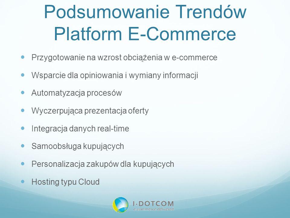 Podsumowanie Trendów Platform E-Commerce Przygotowanie na wzrost obciążenia w e-commerce Wsparcie dla opiniowania i wymiany informacji Automatyzacja p