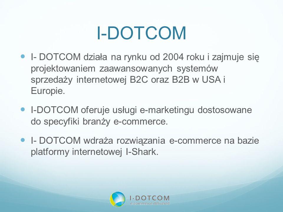 I-DOTCOM I- DOTCOM działa na rynku od 2004 roku i zajmuje się projektowaniem zaawansowanych systemów sprzedaży internetowej B2C oraz B2B w USA i Europ